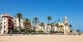 View of sitges from beach catalonia Stock Photography