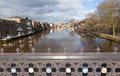 View from Skeldergate Bridge York England with River Ouse within city walls Royalty Free Stock Photo