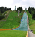 View of the ski jumps slovakia europe in summer Royalty Free Stock Photography