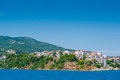 View skiathos town harbour greece Royalty Free Stock Image