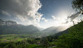 View from the slope of the mountain to town in valley austria Royalty Free Stock Photo
