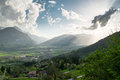 View from the slope of the mountain to town in valley austria Royalty Free Stock Photos