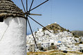 View of the small town of chora in ios island panoramic cyclades greece Stock Images
