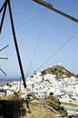 View of the small town of chora in ios island panoramic cyclades greece Stock Photography