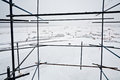 View of snow covered airdrome from scaffold Stock Image