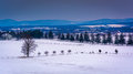 View of snow-covered farm fields and distant mountains from Long Royalty Free Stock Photo