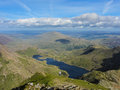 View from snowdon summit towards east the of mount in wales brittany lake in the background Royalty Free Stock Image