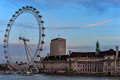 View of south bank tourist attraction largest ferris wheel in europe Stock Photo
