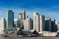 View of south street seaport and pier in lower manhattan during a beautiful day against blue sky background Royalty Free Stock Images