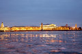 View of the spit of vasilevsky island at night in spring st petersburg russia Royalty Free Stock Photography
