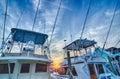 View of sportfishing boats at marina early morning Royalty Free Stock Photos