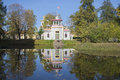 View squeaky chinese gazebo sunny october afternoon tsarskoye selo st petersburg russia people relax on the steps of the Royalty Free Stock Photography