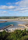 View from St Michaels Mount Cornwall of the harbour Royalty Free Stock Photo