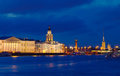 View of st petersburg in night vasilyevsky island Stock Image