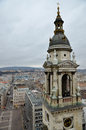 View from St Stephen's Basilica Bell Tower in Budapest Royalty Free Stock Photos
