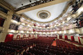 View from stage t o auditorium of large stage moscow april in vakhtangov theatre on april in moscow russia light and sound systems Royalty Free Stock Images