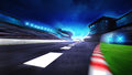 View of the start finish line and paddock on the racetrack Royalty Free Stock Photo