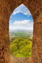 View from stoned loophole window of hohenzollern arch castle during summer day time in germany Stock Photo