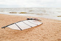 View of storm seascape. Windsurf board Royalty Free Stock Photo