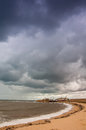 View of stormy seascape. Toned. Royalty Free Stock Photo