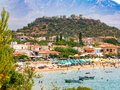 View of Stoupa beach, located in Messinia, Greece