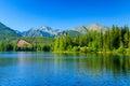 Pohled na Štrbské Pleso a hory