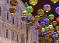 View of street decorations with lights Royalty Free Stock Photo