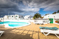 View of the swimming pool in the urbanization playa blanca lanza lanzarote Royalty Free Stock Images