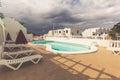 View of the swimming pool in the urbanization playa blanca lanza lanzarote Stock Photo