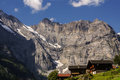 View of the Swiss alps: Beautiful Gimmelwald village, central Sw Royalty Free Stock Photo