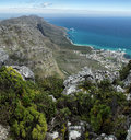 View from table mountain on the coast south of cape town south africa Stock Photos