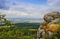 View from table mountains poland szczeliniec wielki rocks gory stolowe and landscape of klodzko valley Royalty Free Stock Photos