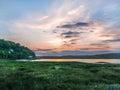 View of the Taf tidal estuary at a beautiful sunrise Royalty Free Stock Photo