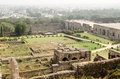 View from the tall ramparts overlooking part of the gardens at golcanda fort hyderabad india the lawns are laid out in traditional Royalty Free Stock Photography
