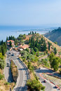 View on Taormina and  Giardini Naxos, Sicily Royalty Free Stock Photos