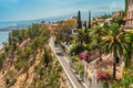 View from taormina the walls of Royalty Free Stock Photography