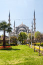 View of the temple of Hagia Sophia from the park. Royalty Free Stock Photo
