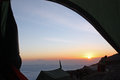 Sunrise viewed from inside a tent on Kilimanjaro with the peak of mount meru Royalty Free Stock Photo