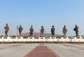 View of thai seven kings bronze monument statues standing at ratchapakdi public park Hua-Hin, Prachuab Khiri Khan, Thailand. Royalty Free Stock Photo