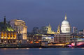 View thames st paul s cathedral dusk lighting buildings already sky was still bright most beautiful moment london uk Stock Image
