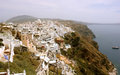 View on thira town in santorini island and sea Royalty Free Stock Photos