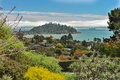 View of tiburon belvedere and san francisco fog over bay with in the foreground Royalty Free Stock Image