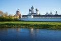 View of the Tikhvin Assumption monastery from the river Tikhvinka. Tikhvin, Russia Royalty Free Stock Photo