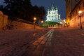 View to andreevsky church at night street Royalty Free Stock Images