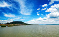 View to badacsony from szigliget at lake balaton hungary Stock Photos