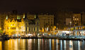 View to Barcelona  Port  in  night Royalty Free Stock Photo