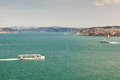 View to bosphorus istanbul turkey with ships and first bridge over it Royalty Free Stock Images