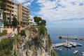 View to the buildings on the cliff in the historical part of Monaco, Monaco. Royalty Free Stock Photo