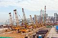View to the construction sites victoria hongkong january near harbor of victoria on january victoria hongkong they build new Stock Photo