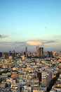 A view to the east depicting the cityscape of downtown tel aviv and its neighboring city ramat gan at dusk this is the central Stock Images